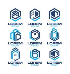 hexagonal real estate logo vector image