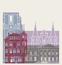 Leeuwarden skyline poster vector image