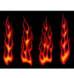 Set of long tribal fire flames vector image vector image