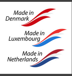simple logos made in denmark made in luxembourg vector image vector image