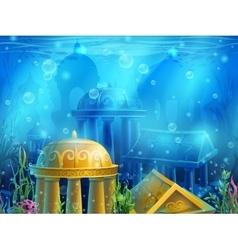 Underwater ruins vector image vector image
