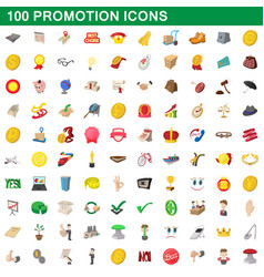 100 promotion icons set cartoon style vector image