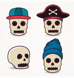 cartoon skull collection in cap pirate vector image vector image