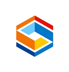 cube abstract geometry color logo vector image
