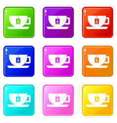 cup of tea with tea bag set 9 vector image vector image