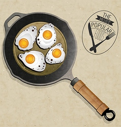 artistic pan with eggs vector image vector image