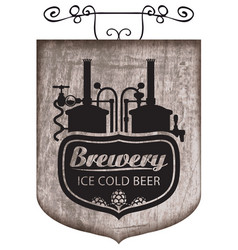 Beer signboard with production line retro brewery vector