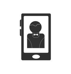 Black icon on white background dealer silhouette vector