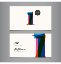 business card with number 1 vector image