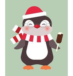 christmas penguin vector image vector image