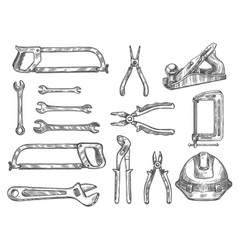 construction and repair tool isolated sketch set vector image vector image