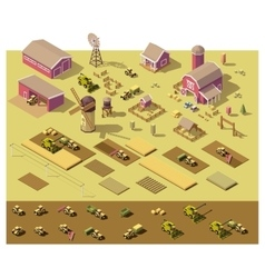 isometric low poly farm elements vector image vector image