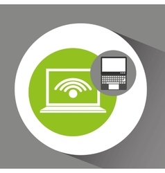 Laptop technology wifi internet icon vector
