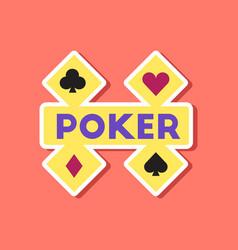 paper sticker on stylish background poker logo vector image