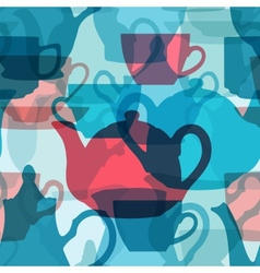 Seamless crockery background with transparency vector image vector image
