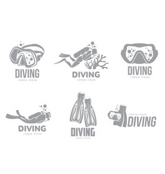 set of graphic diving logo templates with divers vector image vector image