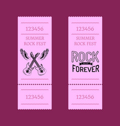 summer rock fest set of tickets isolated on purple vector image vector image