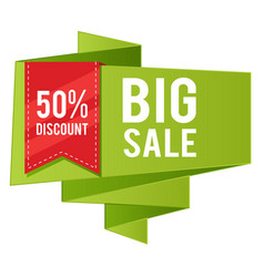 50 discount big sale red ribbon green banner vect vector image