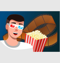 A man watches movie with glasses for 3d films vector