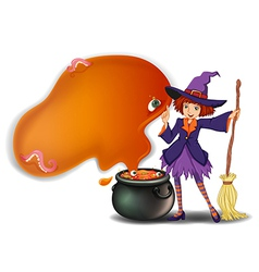 A witch holding a broom with a pot vector image