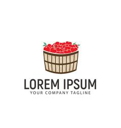 Apple basket logo design concept template vector
