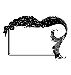 Art-nouveau mermaid silhouette frame vector