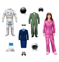 Astronaut Girl Pack vector image