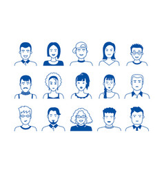 avatar line icons hand drawn people cartoon faces vector image