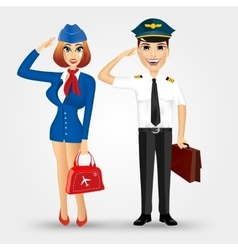beautiful stewardess and handsome pilot vector image