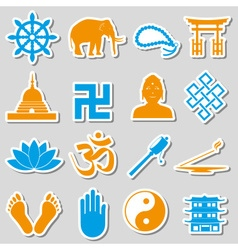 Buddhism religions symbols set of stickers eps10 vector