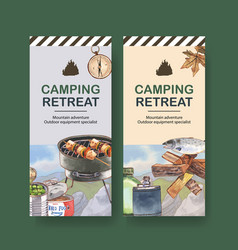 Camping flyer design with barbecue firewood fish vector