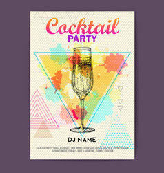 Champagne on polygon watercolor background vector