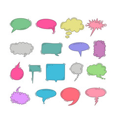 chat bubble doodle colorful hand draw element set vector image