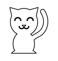 Chinese cat lucky icon vector
