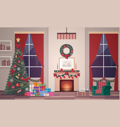 christmas interior living room vector image