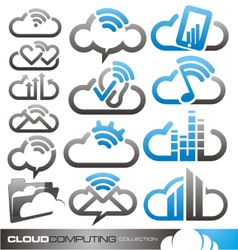 Cloud computing logo design concepts vector image
