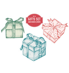 collection hand drawn pastel gift boxes vector image