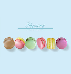 colorful macaroons realistic banner vector image