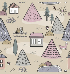 cute doodle seamless pattern with cartoon houses vector image