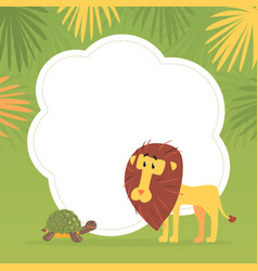 cute funny african animals banner template with vector image