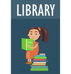 Cute girl sits on pile of literature in library vector