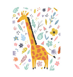 cute hand drawn giraffe character with decoration vector image