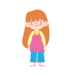 cute little girl cartoon character isolated design vector image