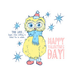 cute yellow owl bird wish you a happy valentines vector image