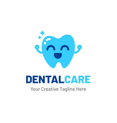 dentist logo with teeth and happy face vector image