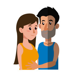 Embracing couple relationship together shadow vector