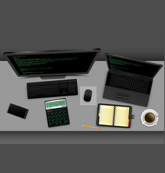 Employer workplace in office vector
