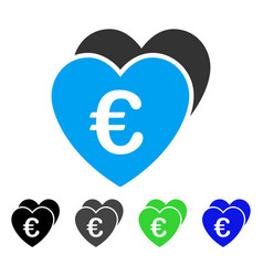 Euro favorites hearts flat icon vector