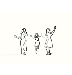 Family with mother grandmother and girl walking vector