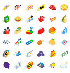 fiscal icons set isometric style vector image